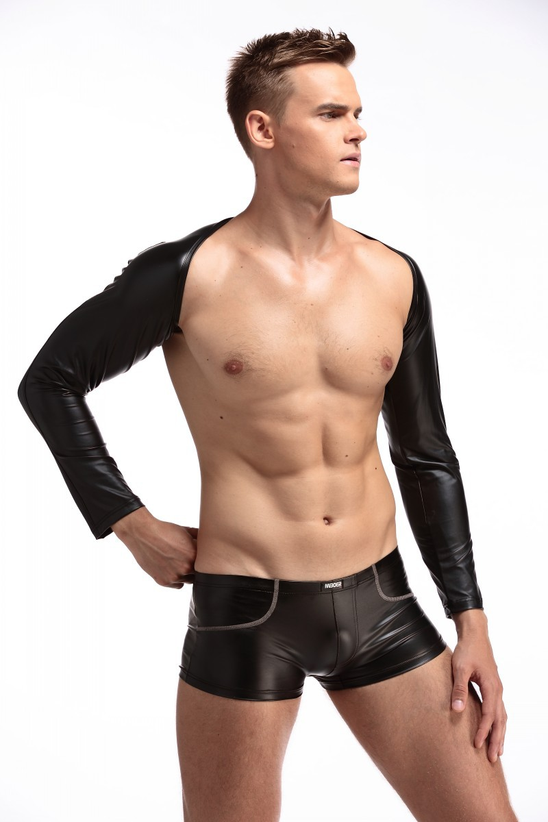 1Set Top+Boxers Sexy Men PU Faux Leather Long Sleeve Bodysuit Catsuit Body Suits DJ Gay Club Dance Wear FX1035