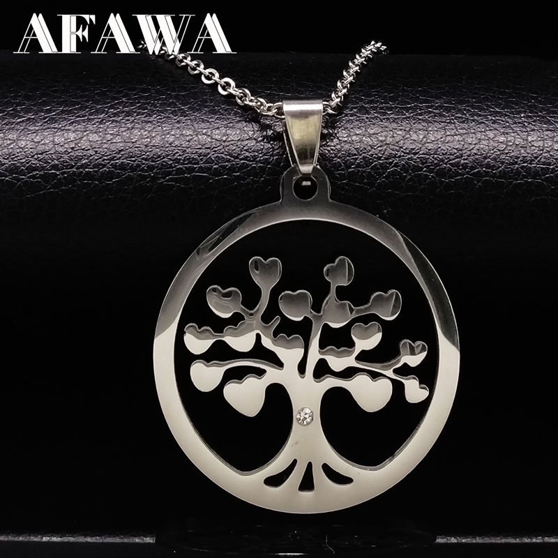 Stainless Steel Tree of Life Pendants Necklaces Women Men jewelry Tree statement necklace silver chain neckless collares N16812