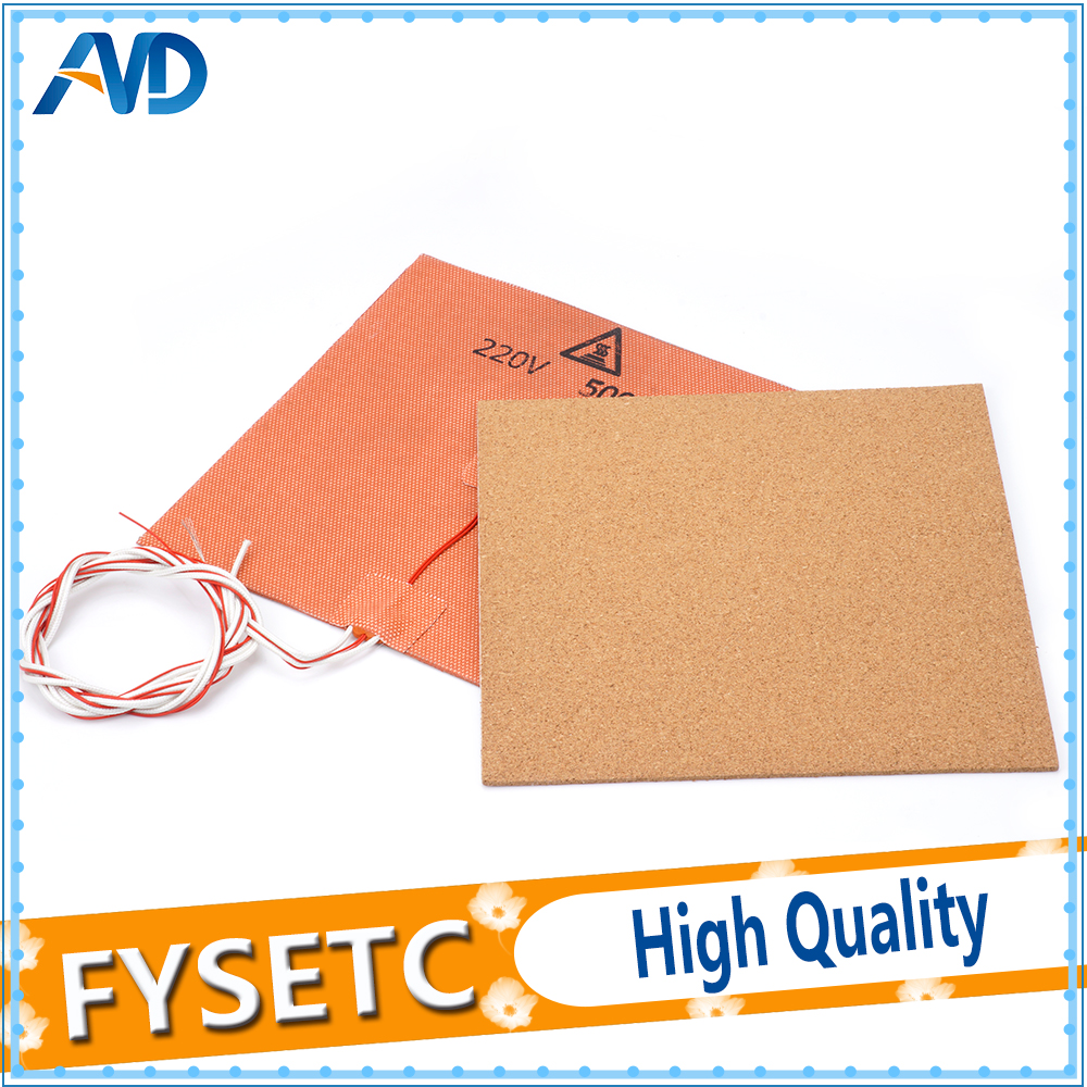 купить USA Material! 220V 500W Silicone Heater Pad Mat 200X200mm + Adhesive Cork Sheets 200*200*3mm Heated Bed Hot Plate For Prusa i3 по цене 1605.06 рублей
