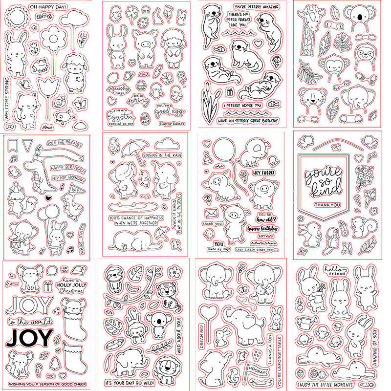 4*6inch ME Elephants Rabbits Piggy Monkey Tiger Lion Transparent Stamp Clear Stamps for DIY Scrapbooking Paper Cards Crafts 2019