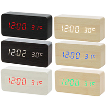 Hot Sale Multicolor Sounds Control Wooden Clock Modern Wood Digital LE