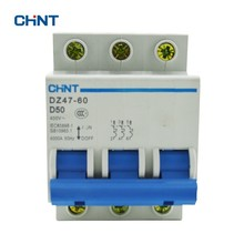 CHINT Circuit Breakers DZ47-60 3P D50 D Type Miniature Circuit Breaker 50A original miniature circuit breaker idpna vigi c16a 4 5 6ka