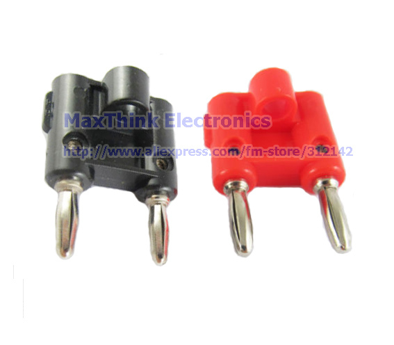Tireless Screw Type Dual Banana Plug Speaker Connector Red & Black,plastic Handle 25pairs=50pcs Free Shipping
