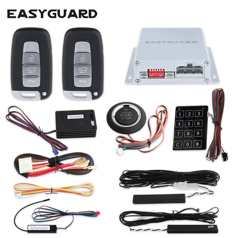 Système d'alarme EASYGUARD pke pour démarreur à distance de voiture système de verrouillage central à distance système de démarrage sans clé bouton d'arrêt sans clé go