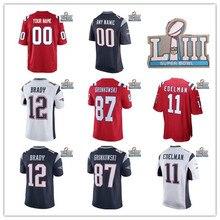 2019 Men Women Youth kids Custom any name number New England Tom Brady  12  Rob Gronkowski 87 Julian Edelman 11 with patch jersey 5b3c53e27