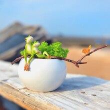 цена на New Frog flowerpot miniature figurines Mini Ceramic flower vase Arts and Crafts fairy garden home decoration accessories modern