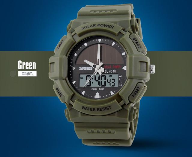 SKMEI Marca de energía Solar 2 zona horaria Reloj Resistente Al Agua 50 m Hombres Deportes Relojes Digitales Multifuncionales de Pulsera Militares