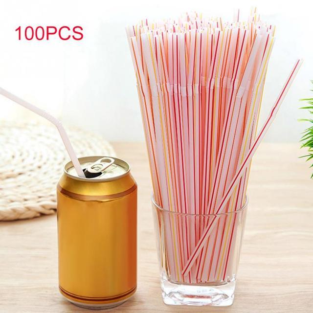 100 PCS Curva Canudo de Plástico Beber Palhas da Festa de Aniversário de Casamento Especial de Verão Cocktail Lounge Eco
