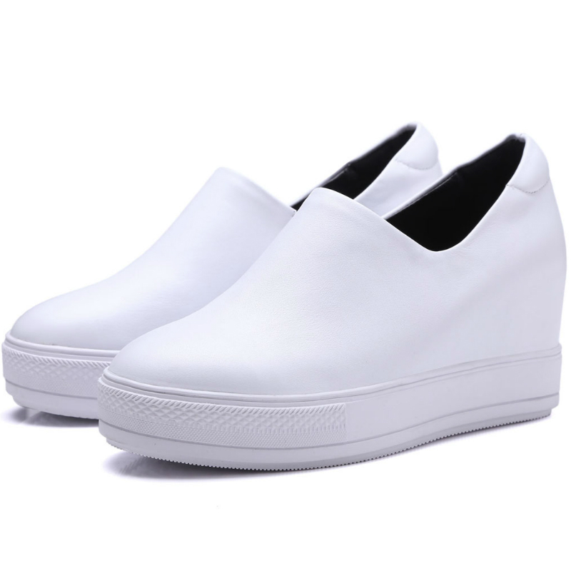 ФОТО Autumn fashion Full grain leather women 8.5cm high heels single shoes lady thick sole platforms wedges white black casual shoes
