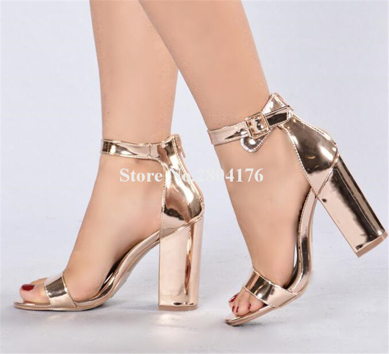 Women Charming Open Toe Rose Gold Patent Leather Chunky Heel Sandals Ankle Strap Thick High Heel Sandals Dress Shoes blue cnc aluminum atv a arm motorcycle brake line clamps for suzuki lt ltr ltz 250 400 450 motor