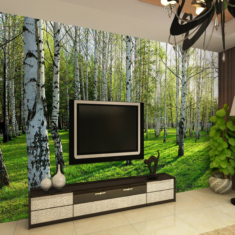 Custom 3D Three-dimensional Mural Wallpaper Living Room Bedroom Sofa TV Background Wallpaper Green Birch Forest Photo Wallpaper