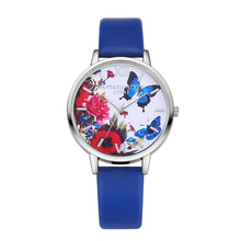 Top Design Female Leather Band Casual Dress Wristwatch 1.38″ Dial Display Butterfly Printing Women Casual Quartz Bracelet Watch