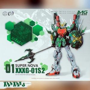 Image 2 - סופר נובה XXXG 01S2 ירוק כפול הדרקון Altron Gundam דגם ערכת MG 1/100 פעולה איור עצרת צעצוע מתנת מים מדבקה