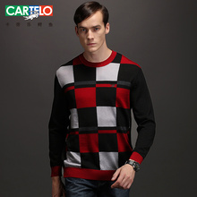 CARTELO brand Men's Sweaters Winter New Men Slim Thick Round Neck Sweater Fashion Spell Color Stitching Large Size Men's Tops
