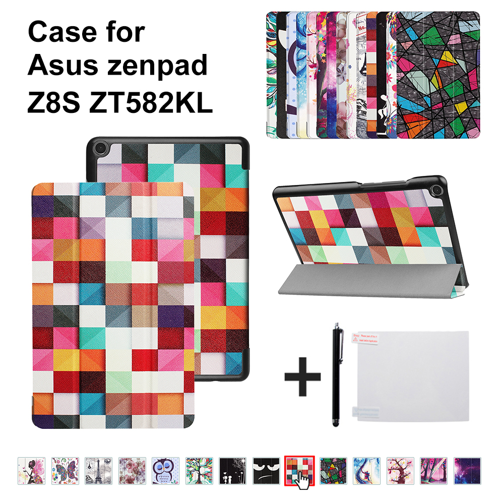 Slim Printed PU Leather case For 2017 Asus Zenpad Z8S ZT582 ZT582KL 8 inch  tablet Smart Cover + gift new arrival silk printed ultra slim smart magnetic stand leather case for asus zenpad 8 0 z380kl z380c z380 tablet case gift