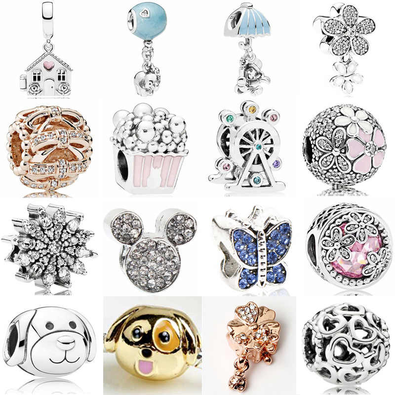 Fresh Style Small European Pendant Beads Maxi Flowers Wings Dog Cartoon Mickey Crystal Beads Fit Pandora Charms Bracelets DIY