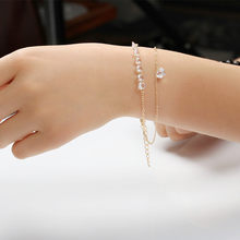Hot Sale Charming Heart Bracelets&Bangles For Women Girls Gold Color Metal Double Layer Zircon Bracelets(China)