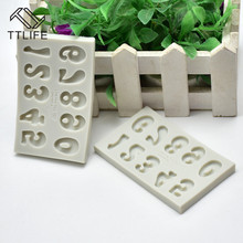 TTLIFE Number Silicone mold fondant cake decorating tools chocolate gumpaste baking cookie stencil