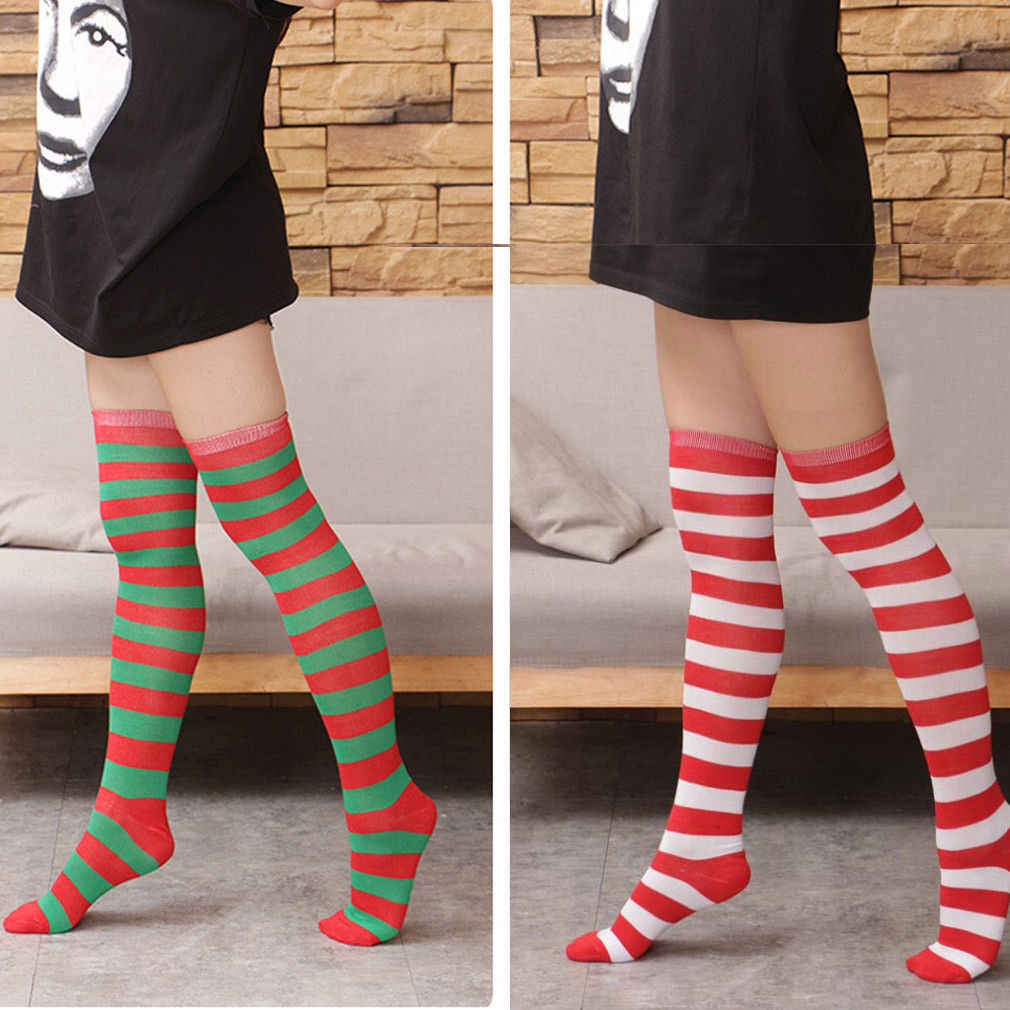 87be2036b52 Vogue New Women Christmas Striped Stockings Red White Stripe Over Knee High  Socks Stockings Girls Lady