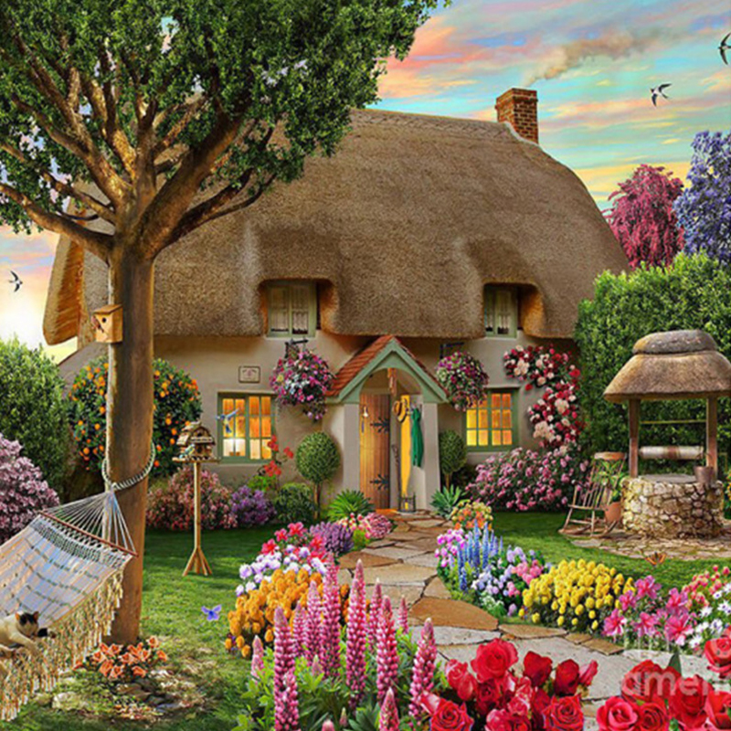 Dream Cottage Diamond Pintura punto de cruz Diamante estilo europeo - Artes, artesanía y costura