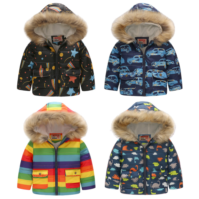 Children Outerwear&Coats 2018 New Winter Cartoon Pattern Faur Fur Hooded Thicken Jackets For Girls Boys Clothes Baby Warm Coat