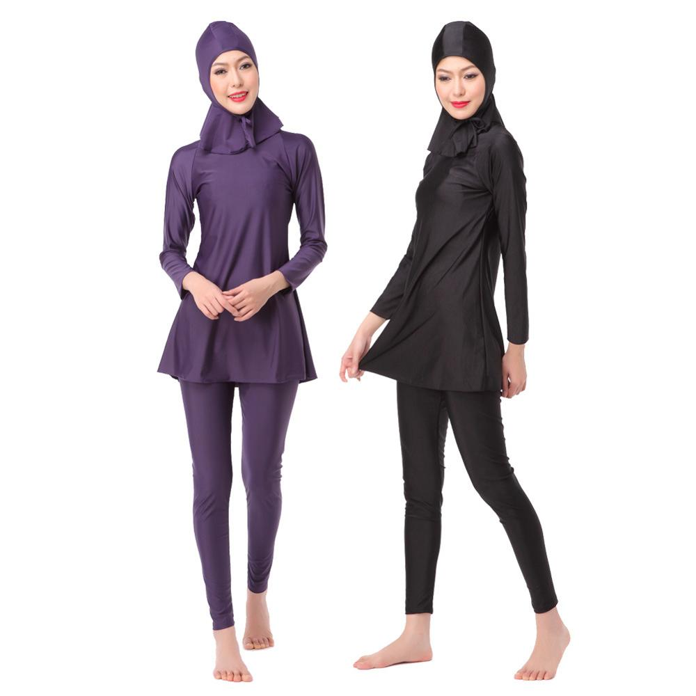 Large Size XS-3XL Muslim Swimwear Islamic Women Swimsuits Long Sleeve Beach Swimsuit Plus Size Full Coverage Swim Bathing Suit