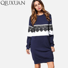 QIUXUAN Corchet Lace Embellished Two Tone Dress Spring Fashion Women  Sweatshirts Long Sleeve Pullovers Mini Dress 4ea011fca240