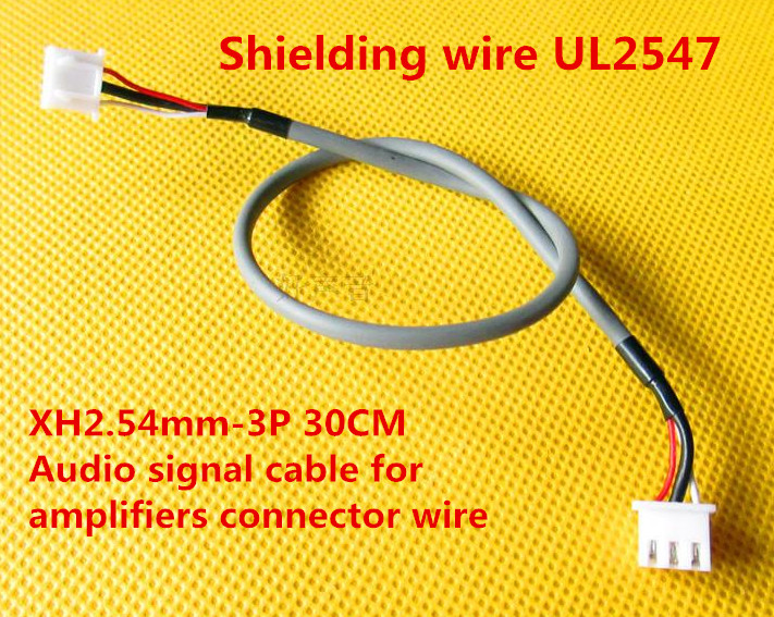 Free Ship 20PCS Shielding Wire UL2547 Two-headed XH2.54-3P 30CM Anti-interference Audio Signal Cable Amplifier Connector Wire
