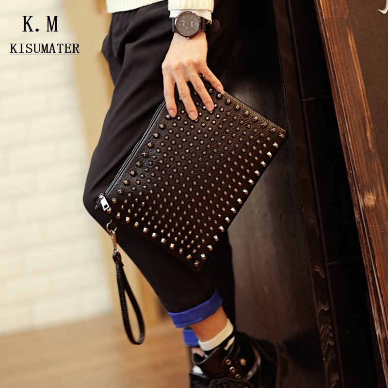 Famous Brands Men's Clutch Handbag Rivets Decoration Envelope Bag Pu Leather Handbags 2019 Free Shipping