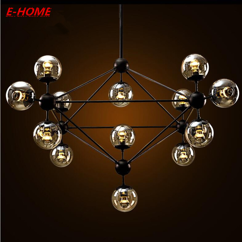 American restaurant magic beans chandelier creative personality Nordic industrial wind simple art retro iron glass ball contemporary and contracted creative personality retro art glass chandelier cafe restaurant study lamps act the role of milan