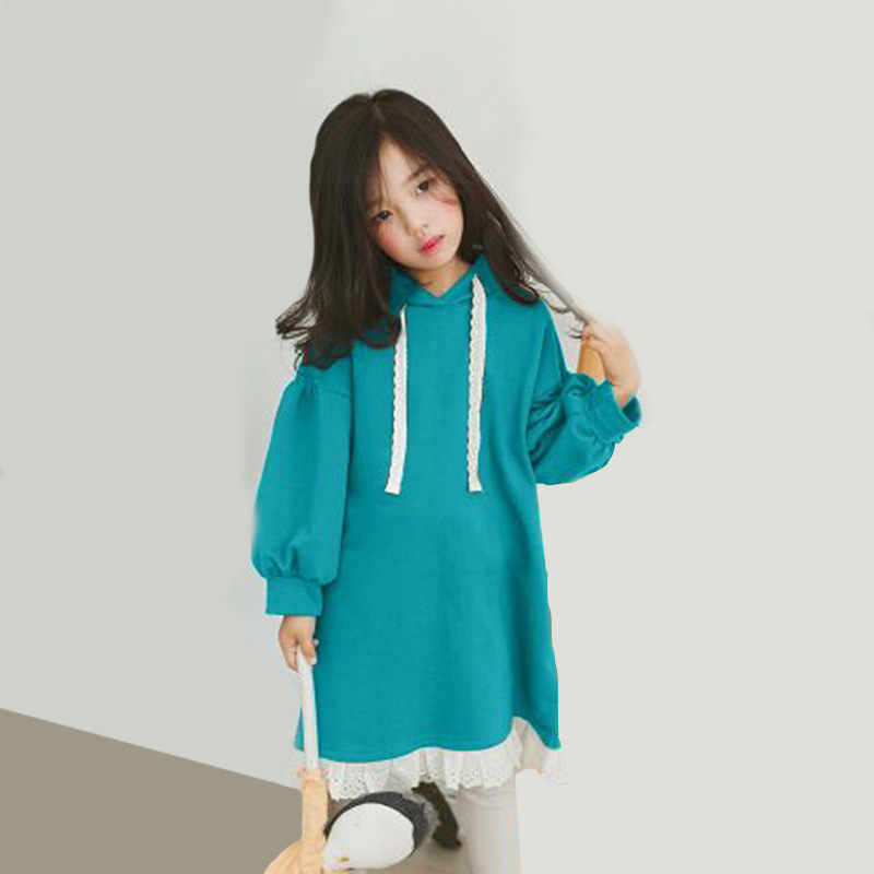 hooded hoodies dresses for girls autumn blue grey long sleeves princess dresses for little girls kids teenage girls clothing