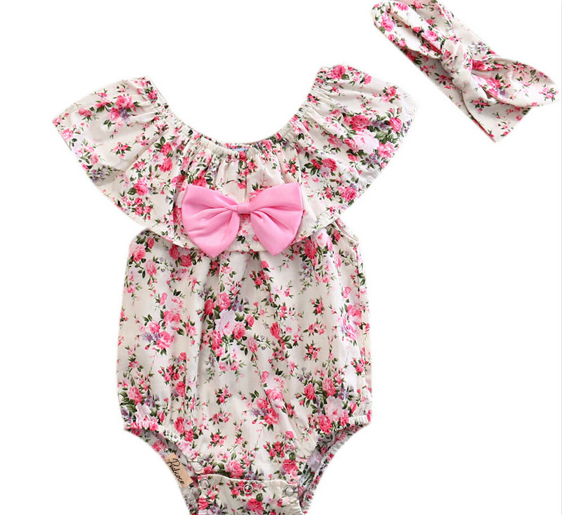 New Ruffle Sleeve Rompers Newborn Toddler Baby Girl Clothes Lace Floral Bow Romper Headband Outfits Summer Girls Clothes cute newborn baby girl bodysuit headband outfits floral sunsuit clothes flower infnat toddler girls summer 3pcs set playsuit