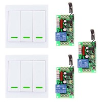 AC 220V 110V 1 CH 1CH RF Wireless Remote Control Switch Receiver 2X 3CH Wall Panel