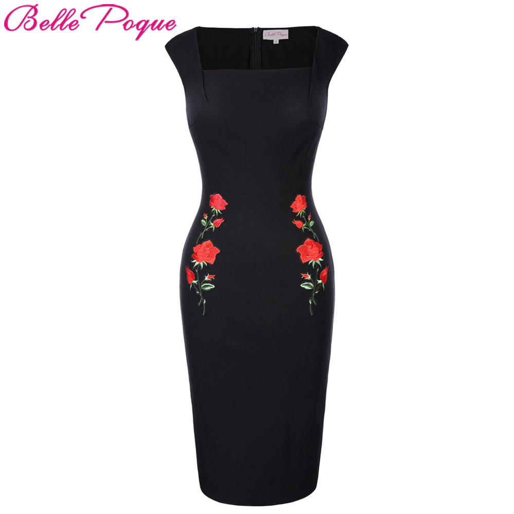 Belle Poque Elegant Rose Embroidery Slim Tunic Women Retro Vintage Office Sheath Bodycon Pencil Dress Summer Casual Party Dress