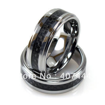 Free Shipping!Wholesales USA Hot Sales E&C Jewelry Mens Tungsten Stepped Edged Black Carbon Fiber RingHis/Her Best Wedding Ring
