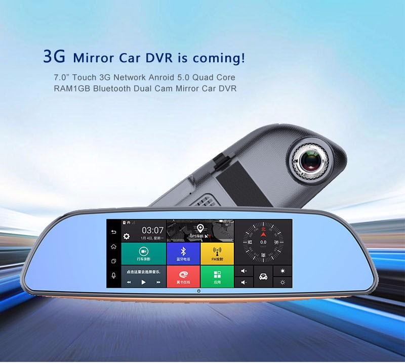 Free 32GB card+3G Car DVR+Android 5.0 Bluetooth GPS WIFI Dual lens rearview mirror camera+FHD1080P camara automovil Phisung H2 3