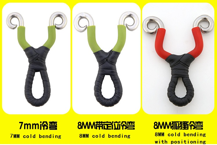 3 Sizes Cold Bending Workmanship Stainless Steel Metal Slingshot Catapult Outdoor Hunting Accessories With Powerful Rubber Band