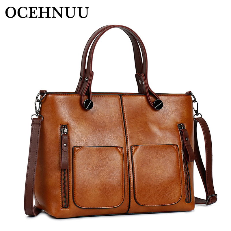 OCEHNUU Brand Fashion <font><b>Women</b></font> PU Leather Handbags Crossbody <font><b>Bags</b></font> Female High Quality <font><b>Big</b></font> <font><b>Shoulder</b></font> <font><b>Bags</b></font> <font><b>For</b></font> Woman <font><b>2018</b></font> Solid Zipper image