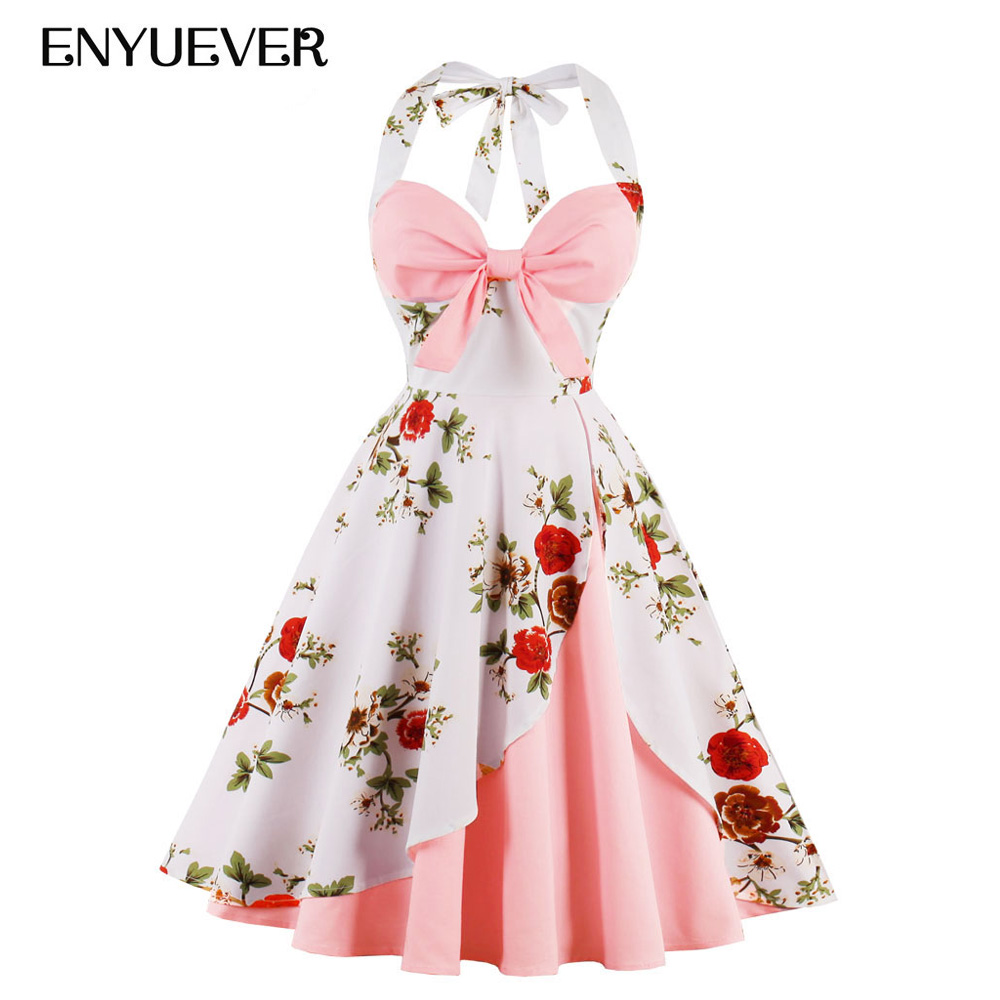 Enyuever Halter Rockabilly Party Dress Plus Size 2019 Cotton Floral Print Blue Pink Robe Pin Up Retro Vintage Dresses 50s 60s