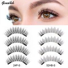 Genailish  False Eyelashes Makeup Hot Sell magnetic eyelashes Hand Made Fashion Double Magnet Fake Eye Lashes 24P-SY