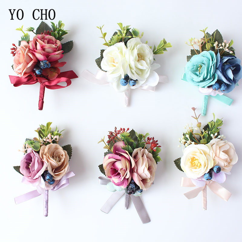 YO CHO Silk Roses Wedding Wrist Corsages Boutonnieres Flowers White Bridal Hand Flowers Groom Man Buttonhole <font><b>Marriage</b></font> Supplies A image