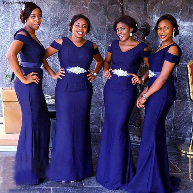 2019 Royal Blue Mermaid African Bridesmaid Dresses V Neck