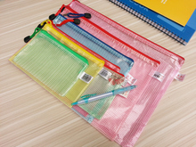 10PCS Gridding Waterproof Zip Bag Document Pen Filing Products Pocket Folder  Office & School Supplies
