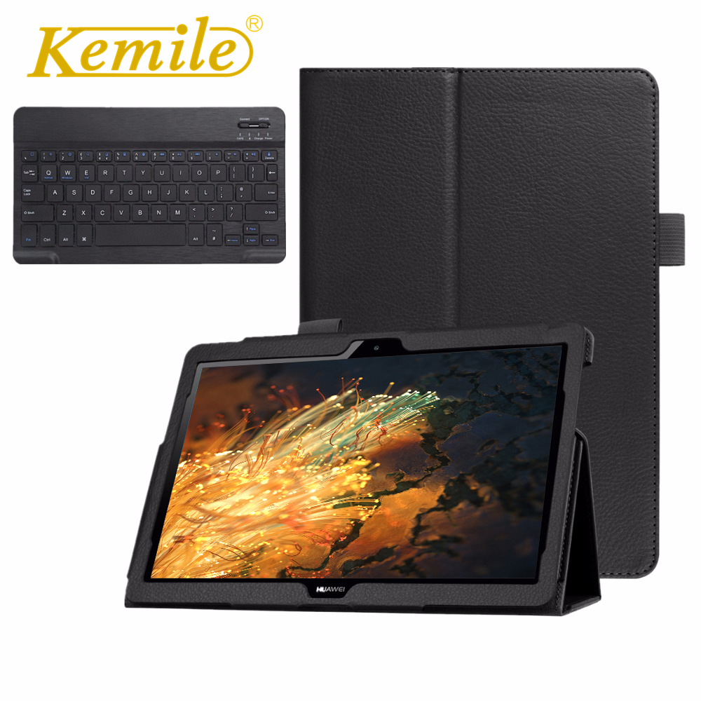 Kemile Bluetooth Keyboard Case For Huawei MediaPad T3 10 AGS-L09 AGS-L03 9.6 Tablet Slim Smart Leather Case Stand Cover wireless bluetooth keyboard pu leather cover protective smart case for huawei mediapad t3 10 ags l09 l03 9 6 inch tablet gift