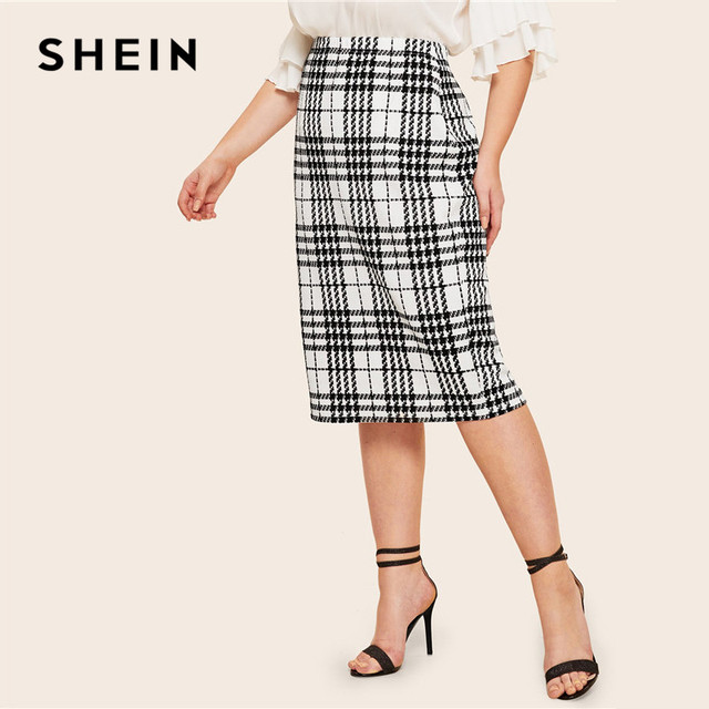 SHEIN Black Solid Women Plus Size Elegant Pencil Skirt Spring Autumn Office Lady Workwear Stretchy Bodycon Knee-Length Skirts 5