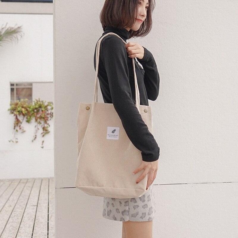 Women Canvas Tote Bag 2019 Corduroy Shopping Female Eco Cloth Handbag Big Women Folding Shoulder Reusable Foldable Shopper Bags