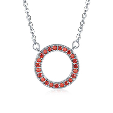 Trendy Simple Red Cubic Zirconia Circle Shape Pendant Necklaces Women Fashionable Clavicle Necklace For Women Jewelry Gifts