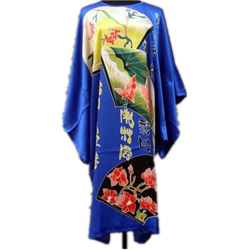 Blue Ladies Robe Summer Pajamas Chinese Women Rayon Sleepwear Kimono Bath Gown Nightgown Kaftan Yukata One Size M01