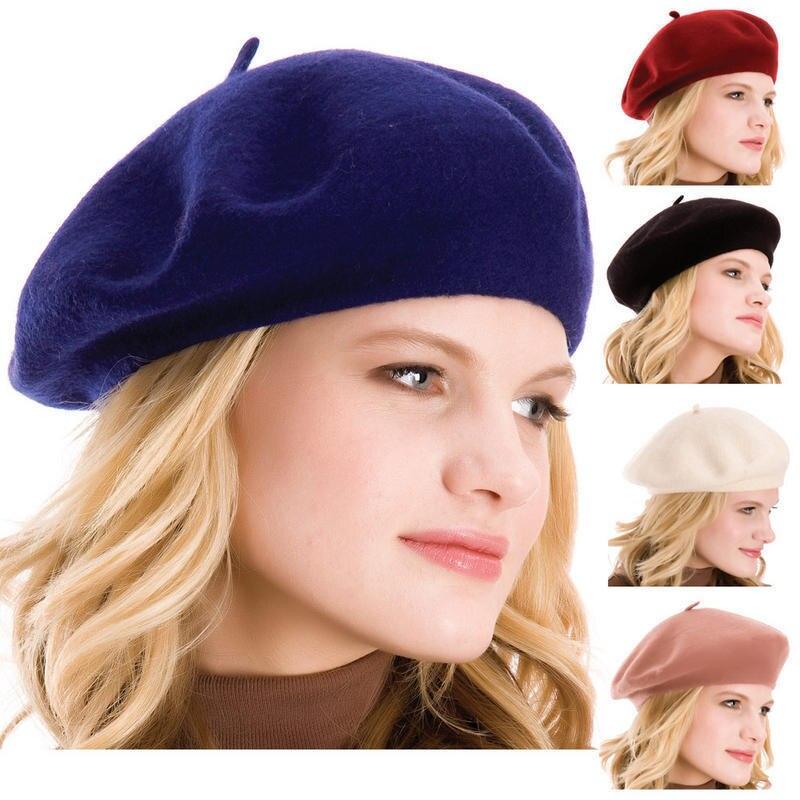 100% QualitäT Süße Frauen Solide Wolle Beret Französisch Künstler Warm Beanie Hut Winter Ski Cap Neue SchnäPpchenverkauf Zum Jahresende