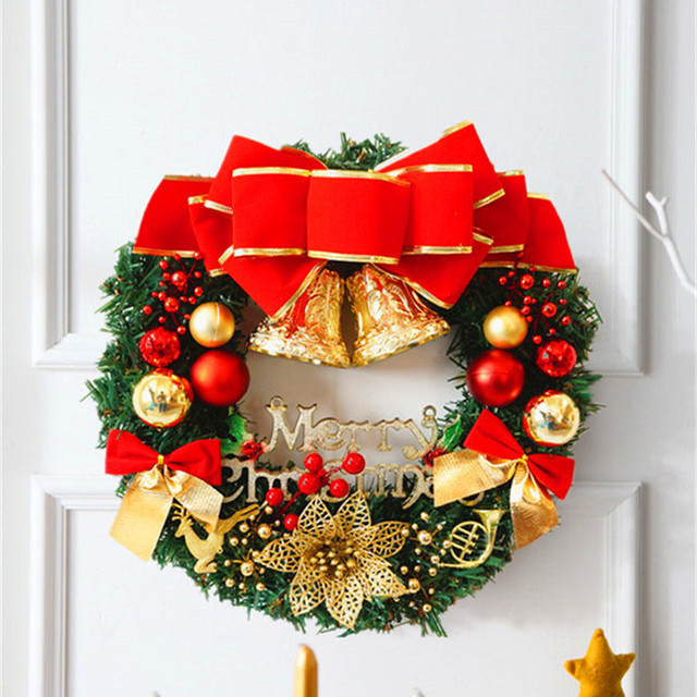 Christmas Wreath 30 35cm Merry Christmas Gifts Bells Strap Xmas ...